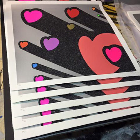 RYCA's Love Beams screen print edition with Diamond Dust